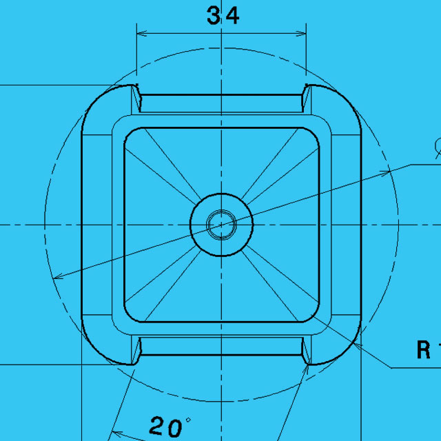 Technical drawing of Vodavoda water bottle square bottom