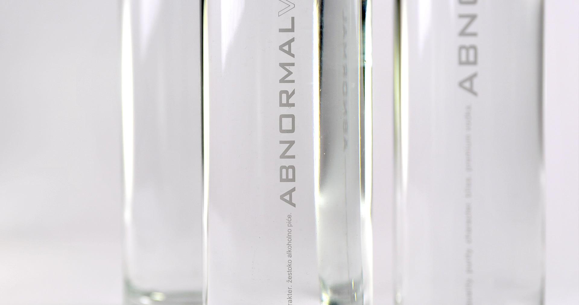 Abnormal vodka bottle label closeup