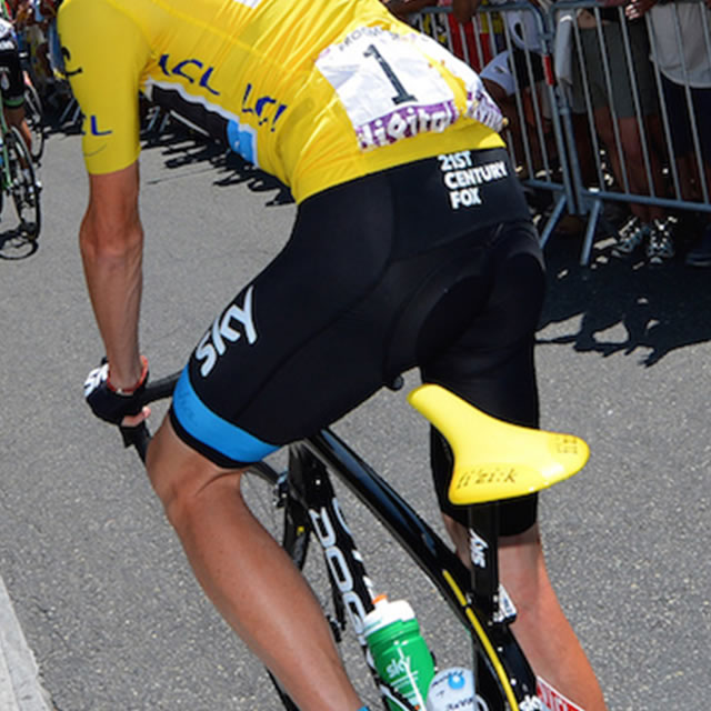 Tour de France cyclist with yellow fi'zi:k arione bike seat