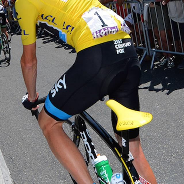 Tour de France cyclist with yellow fi'zi:k arione bike seat