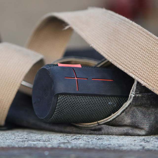 Black UE Boom portable speaker in a bag