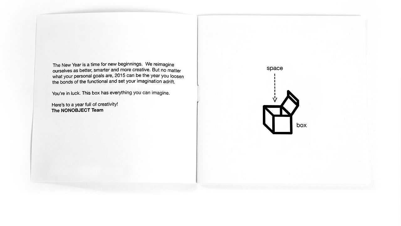Nonobject's empty box instruction manual open page