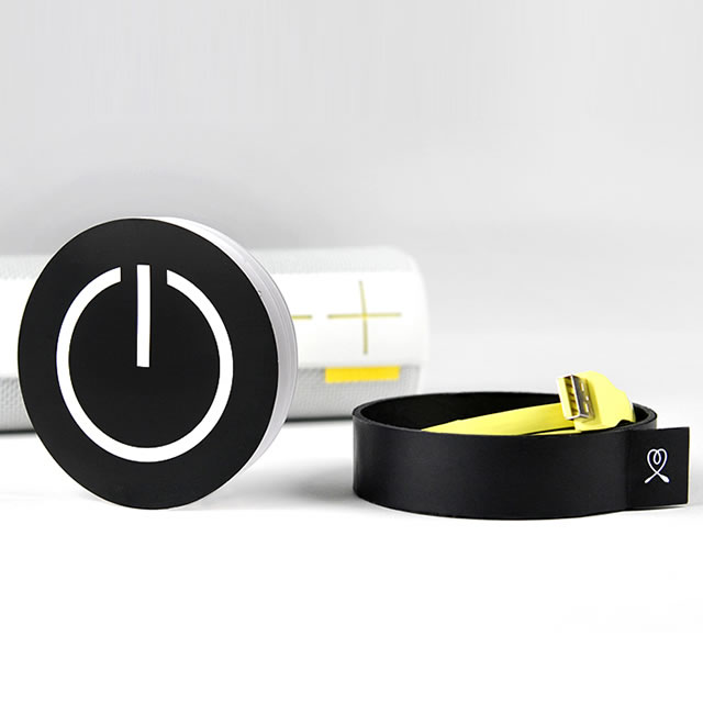 UE Boom portable speaker packaging cable compartment and a quick start guide