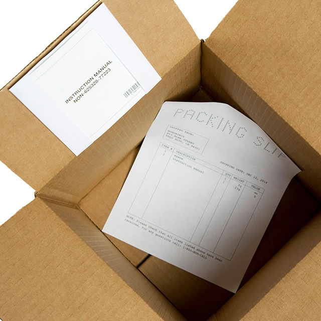 Nonobject's empty box open with instructions inside