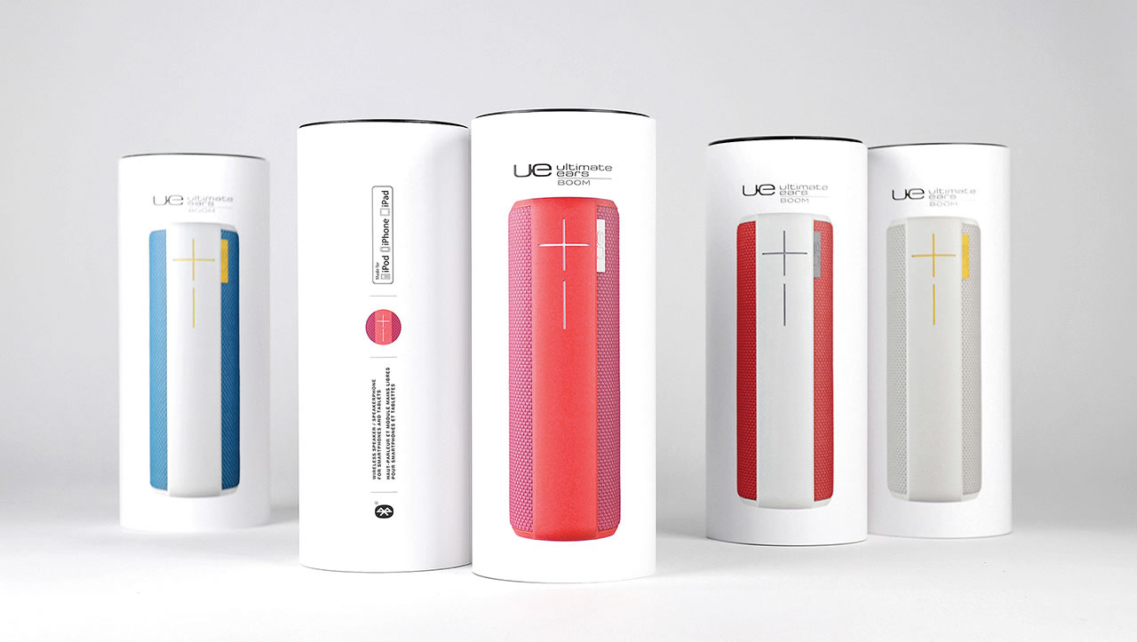 UE Boom portable speaker packaging boxes