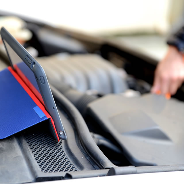Logitech AnyAngle iPad case on the engine compartment