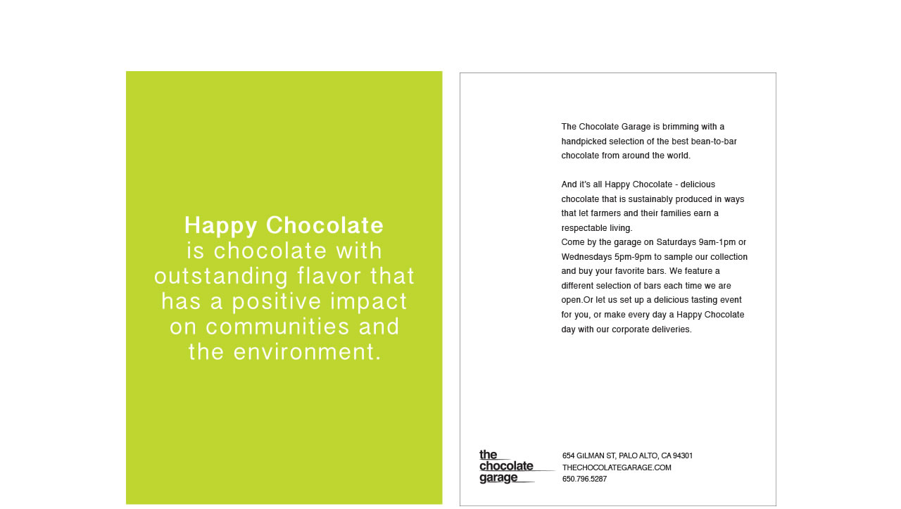 The Chocolate Garage company promo card