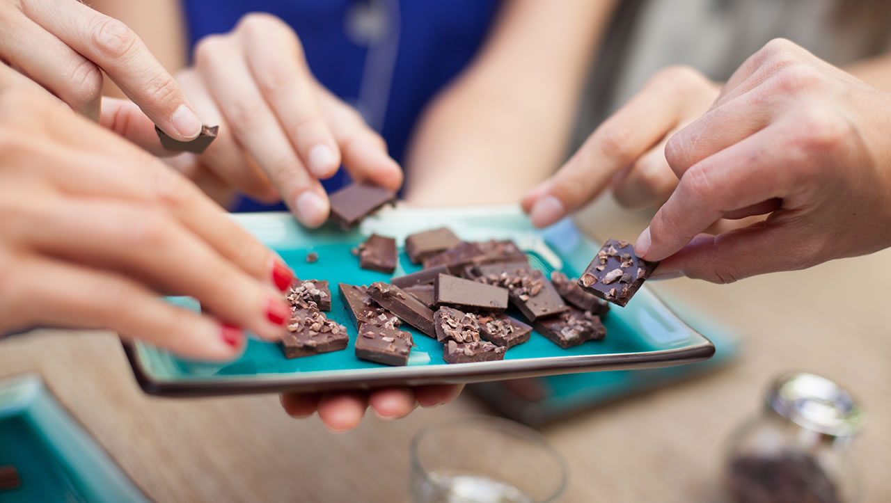 The Chocolate Garage tasting plate with hands