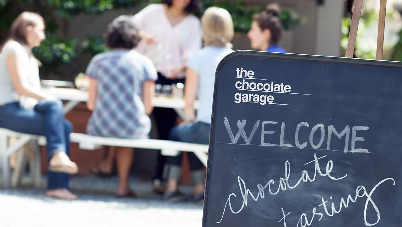 The Chocolate Garage welcome board