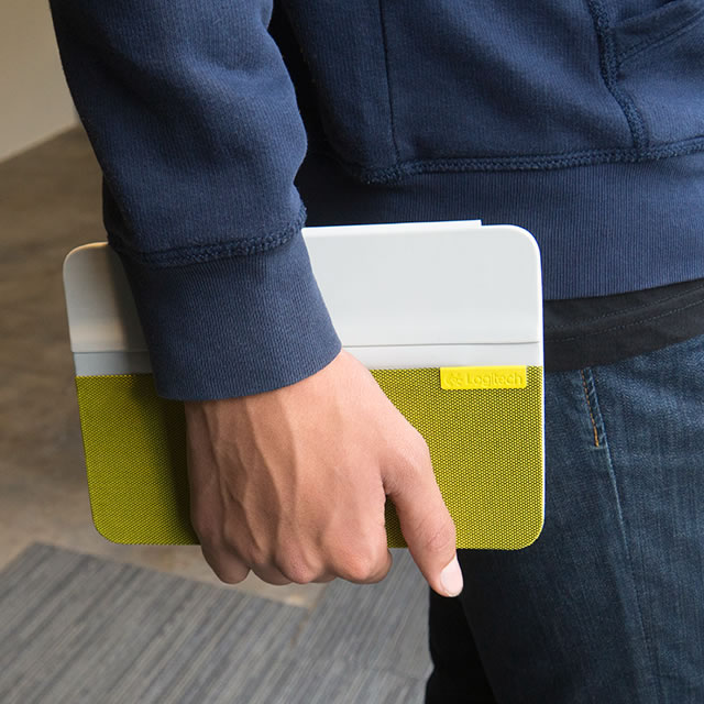 Yellow Logitech AnyAngle iPad case in hand