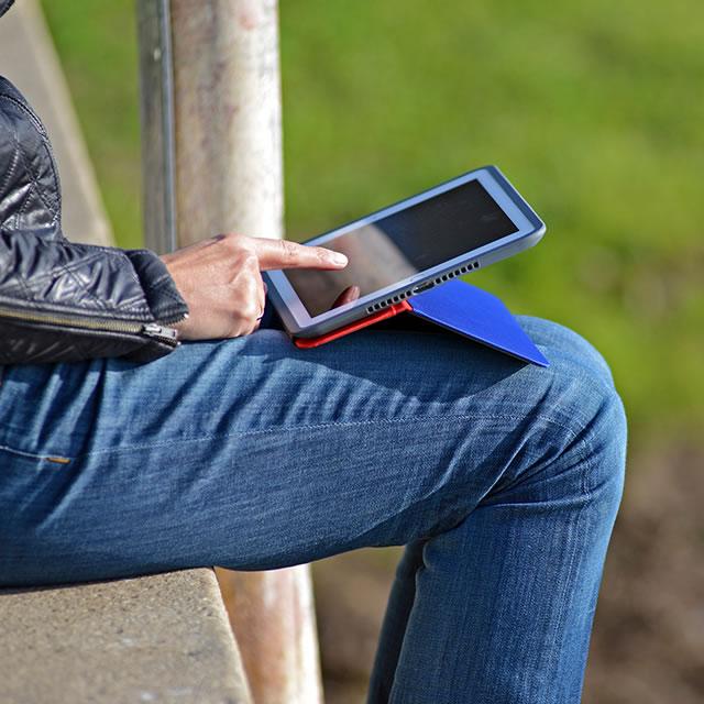 Logitech AnyAngle iPad case on the lap