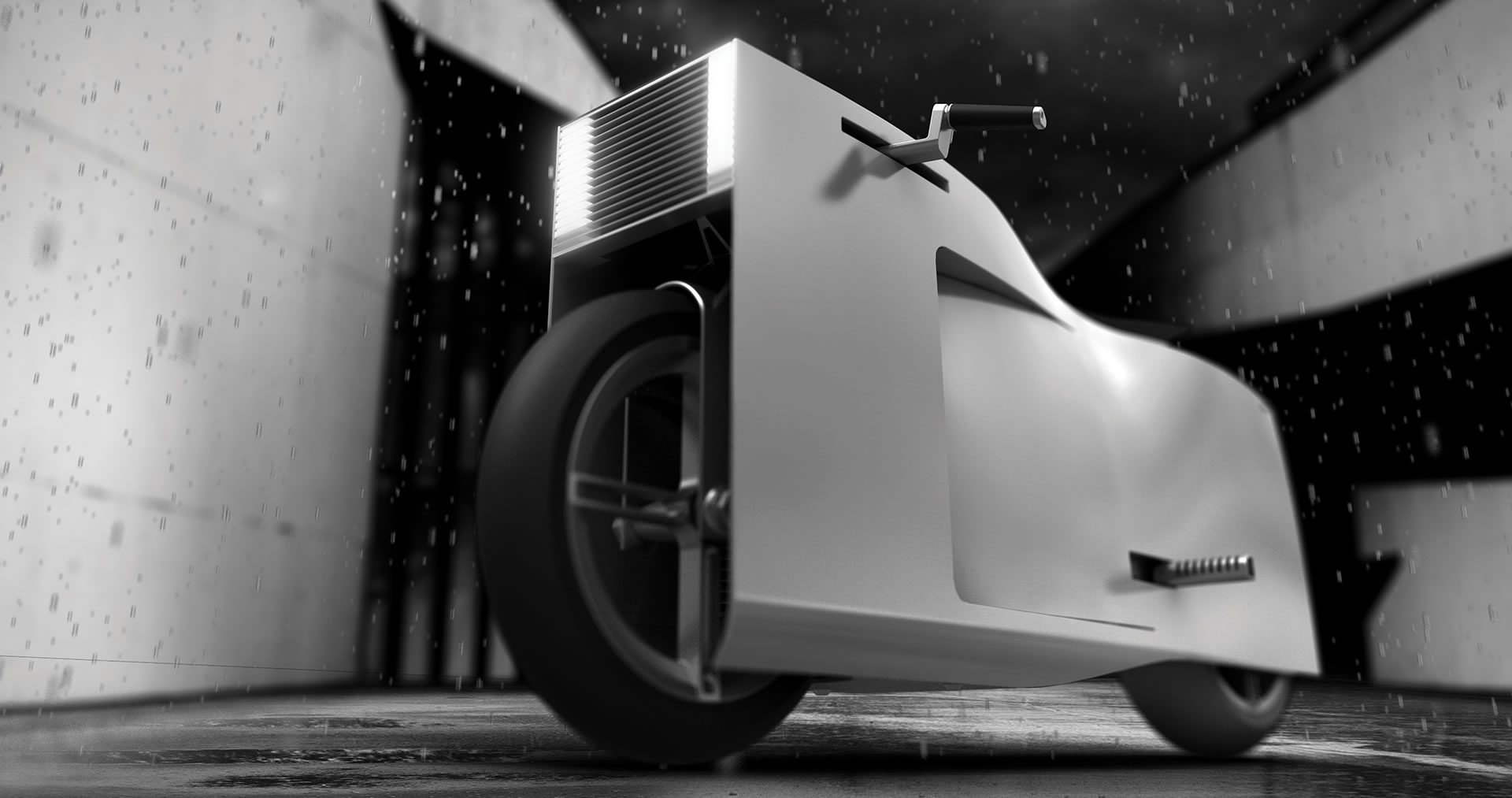 Nucleus electric motorcycle front view