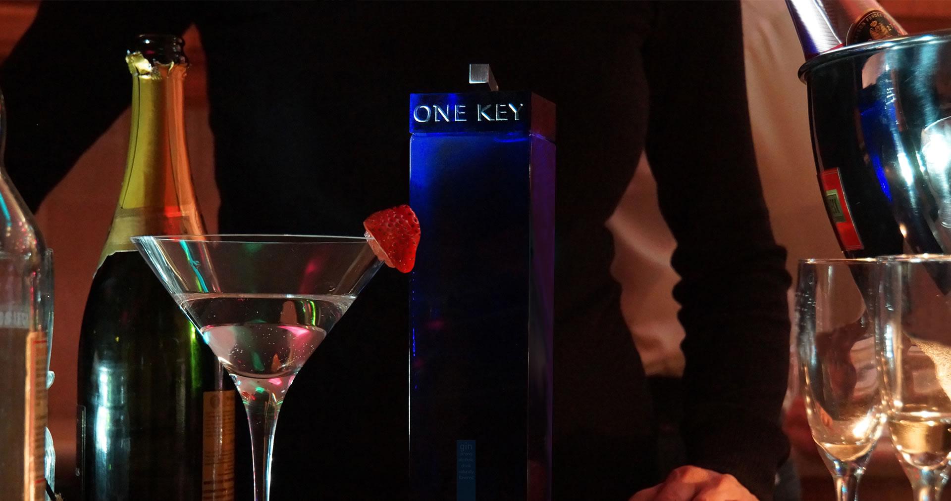 One Key gin bottle in a bar