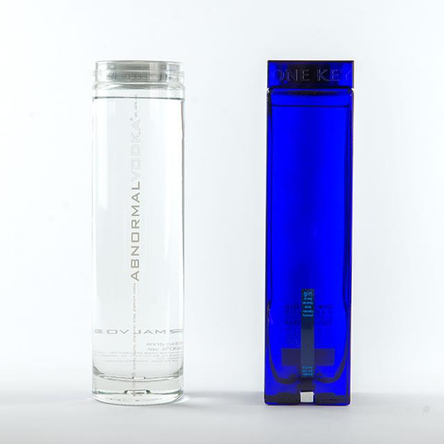 One Key gin bottle and Abnormal vodka bottle
