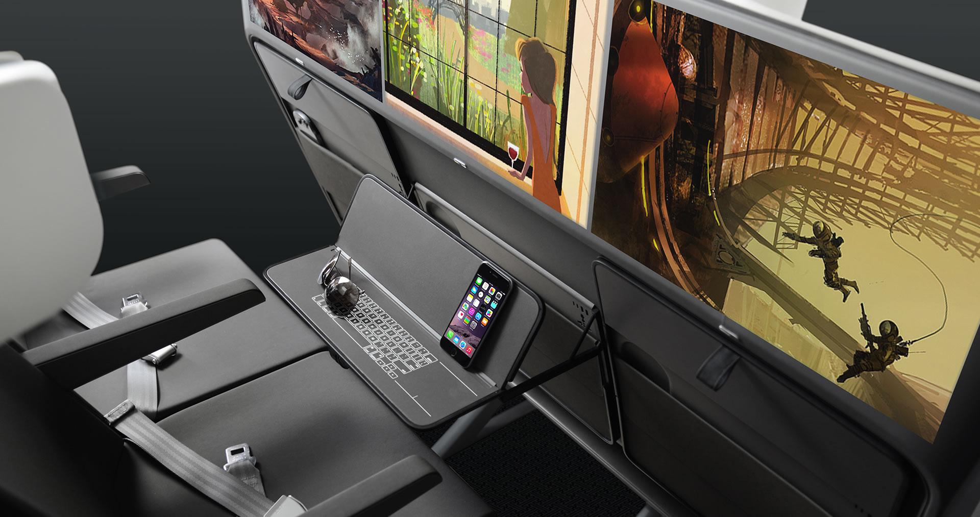 AirCom Pacific airplane seats folding table design