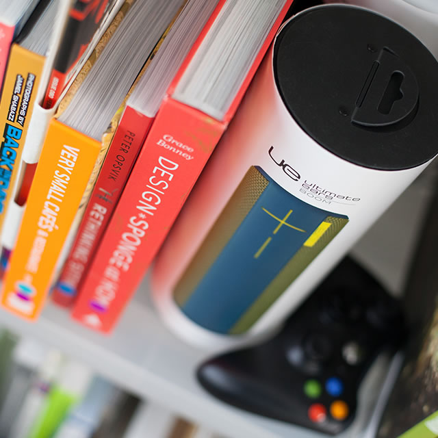 UE Boom portable speaker packaging on shelf