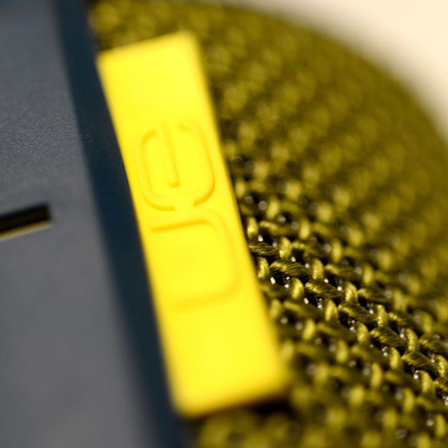 UE Boom portable speaker yellow logo tag