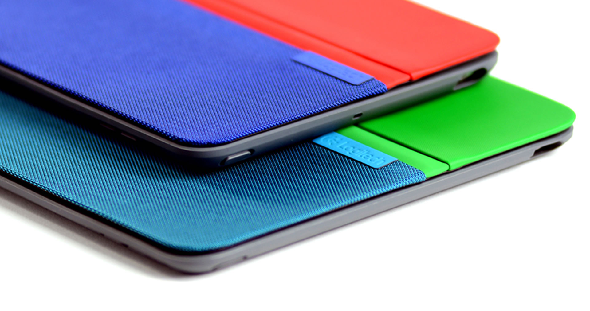 Two Logitech AnyAngle iPad cases materials detail