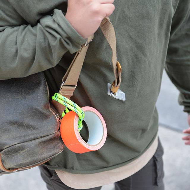 UE Roll speaker duct tape rapid prototype on backpack