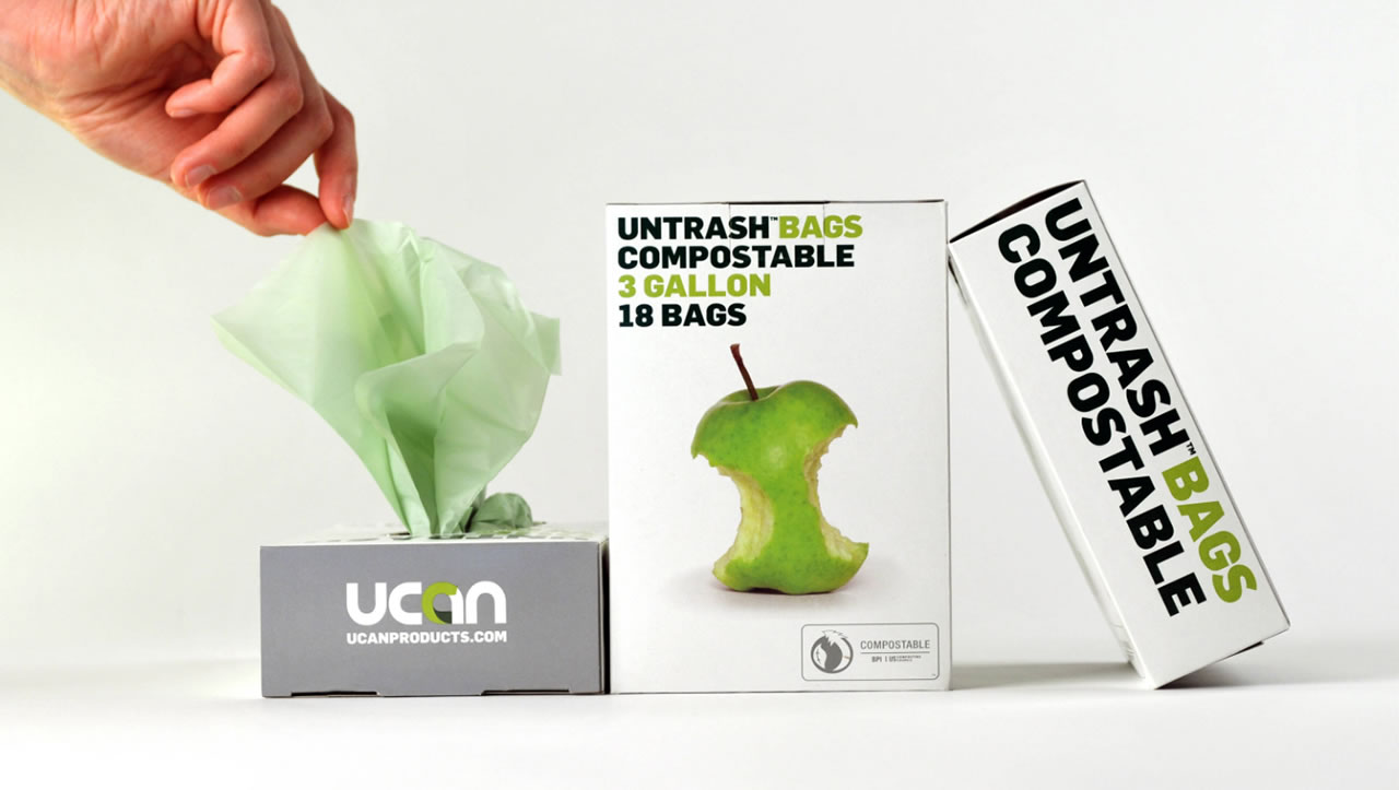 Untrash compostable bags packaging box with green apple