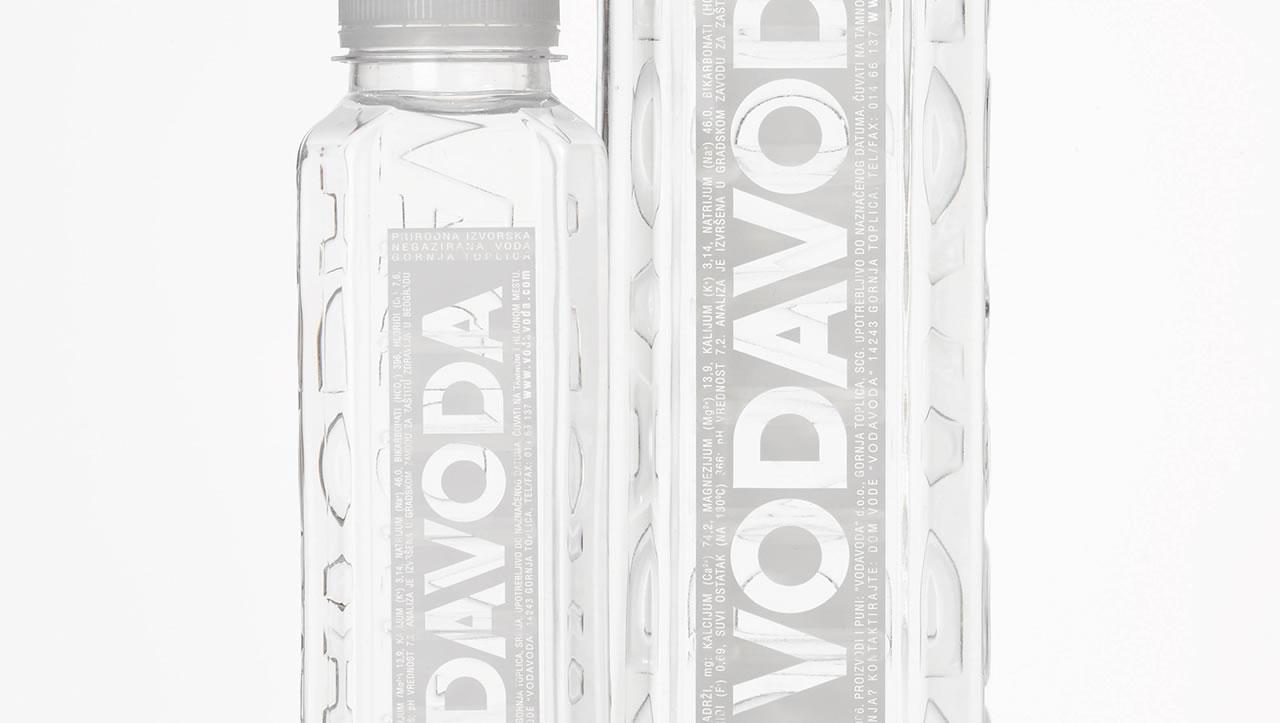 Vodavoda water bottle white labels