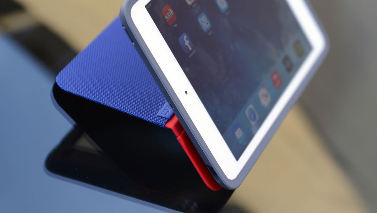 Logitech AnyAngle iPad case on glass surface
