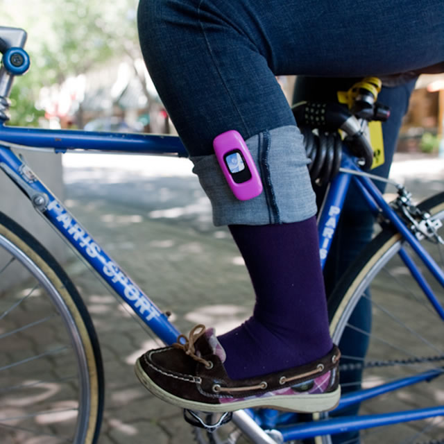 Zamzee wearable activity tracker attached to pants