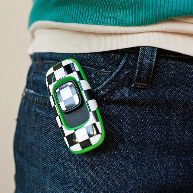 Zamzee wearable activity tracker attached to a pocket