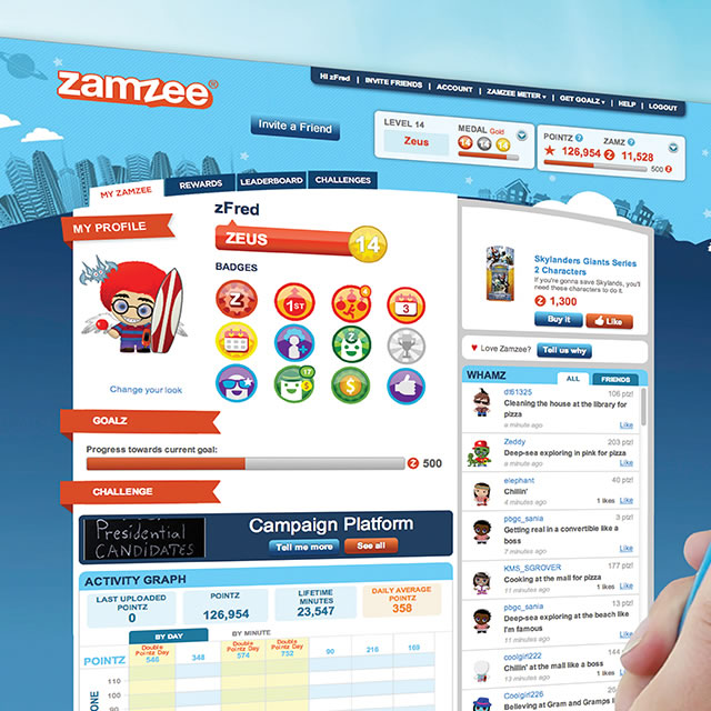 Zamzee wearable activity tracker user account page on website
