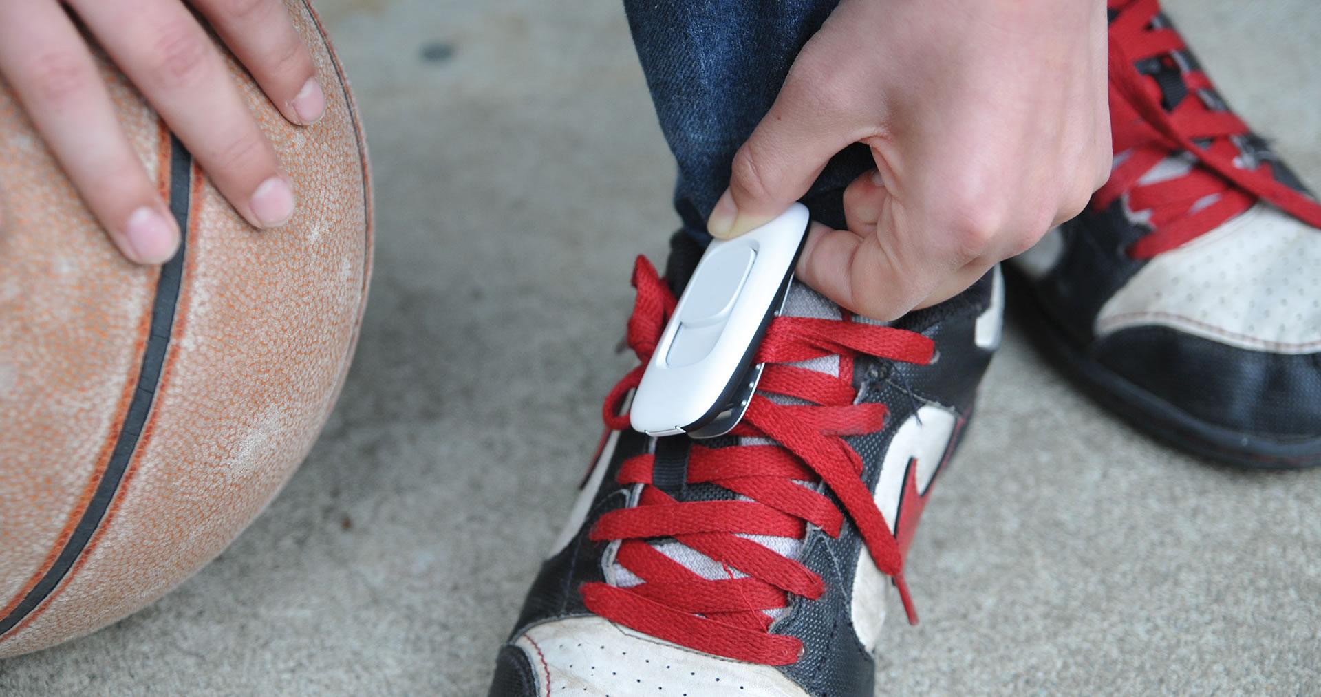 Zamzee wearable activity tracker on a shoe