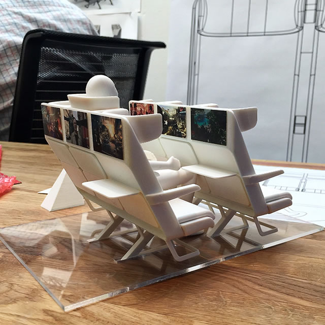 AirCom Pacific airplane seats 3D printed model