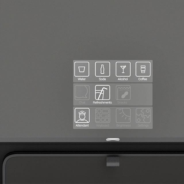 Aircom Pacific airplane seats screen UI icons