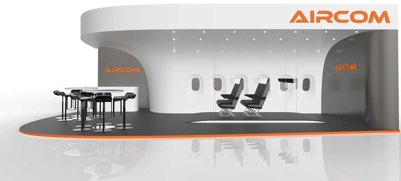 AirCom Pacific airplane seats trade show booth design