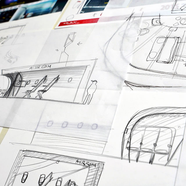 AirCom Pacific airplane seats trade show booth design sketch