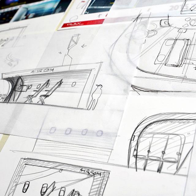 AirCom Pacific airplane seats trade show booth design sketch